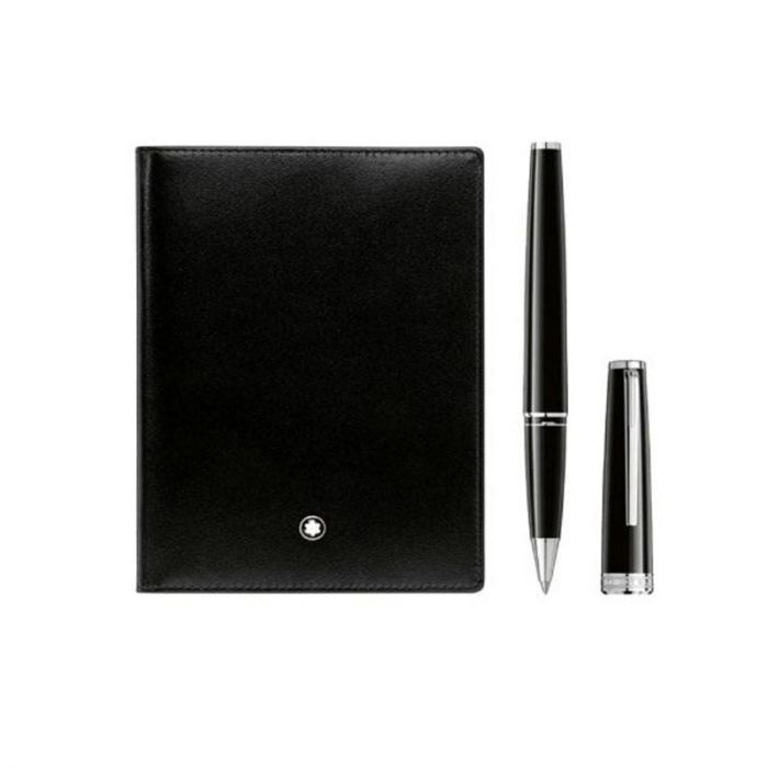 MONTBLANC PIX BLACK ROLLERBALL AND BLACK MEISTERSTUCK PASSPORT HOLDER GIFT SET